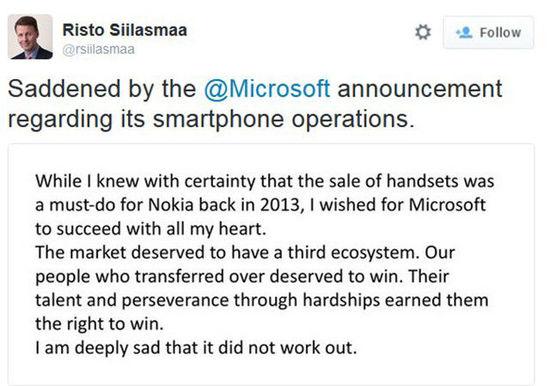 诺基亚董事长:对微软大裁员表示遗憾