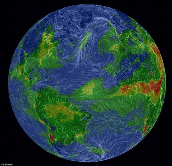触目惊心!实时模型显示大气污染侵蚀全球