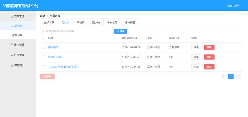 V部落博客管理平台开源啦! Vue+SpringBoot强强联合!