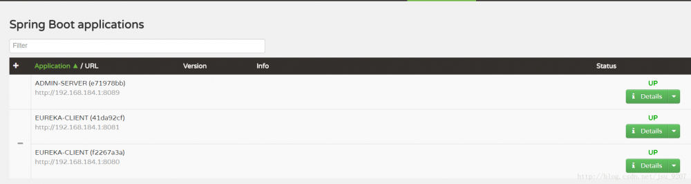 Spring boot Admin 使用eureka监控服务