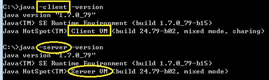 JVM的类型和模式(client+server)