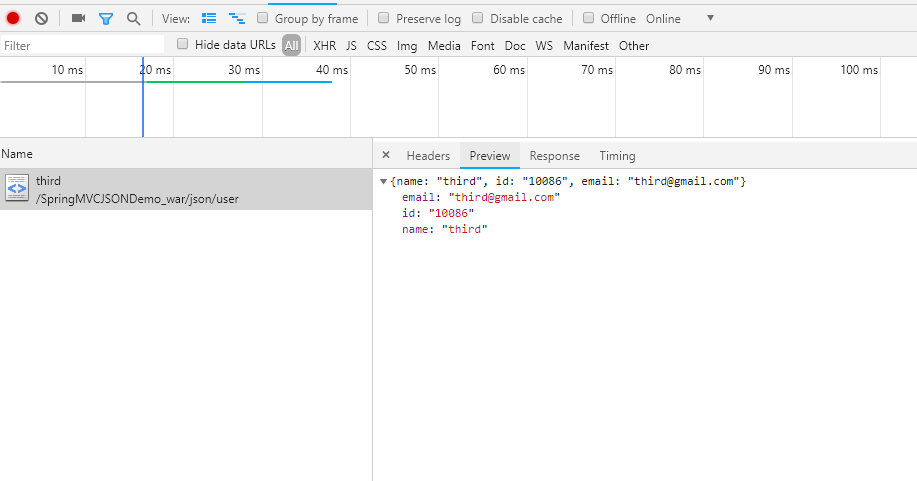 Spring学习手册 1:Spring MVC 返回JSON数据