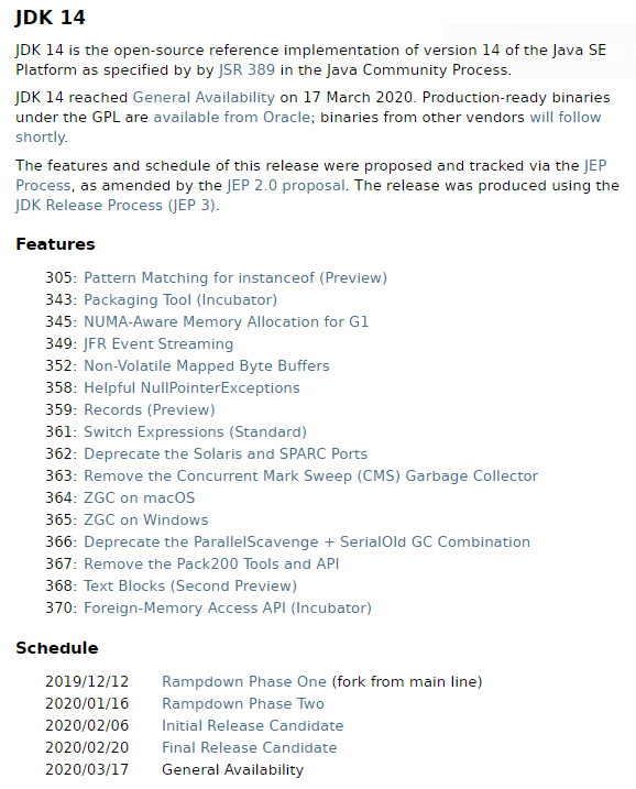 JDK/Java 14 发布