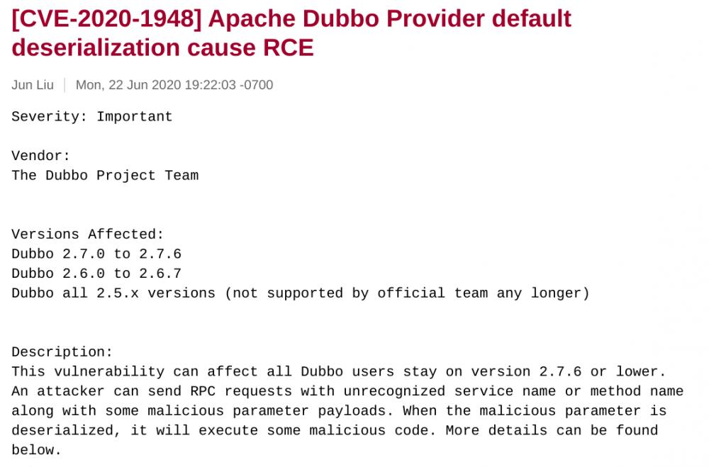 Dubbo 反序列化漏洞,可导致远程代码执行