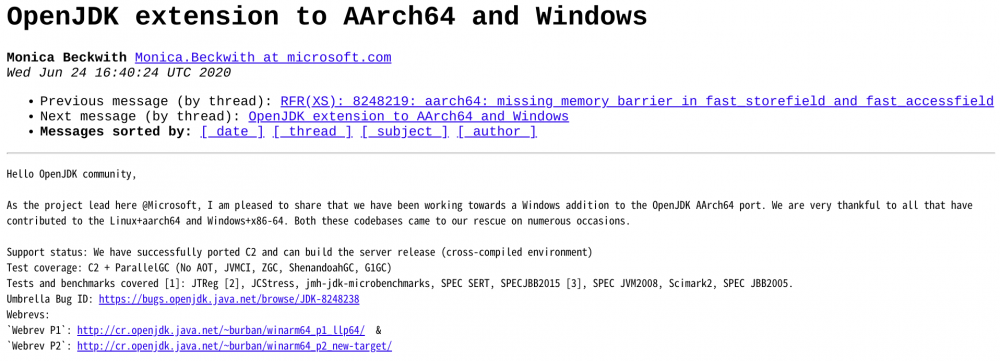 微软在 ARM 上成功移植 OpenJDK for Windows 10