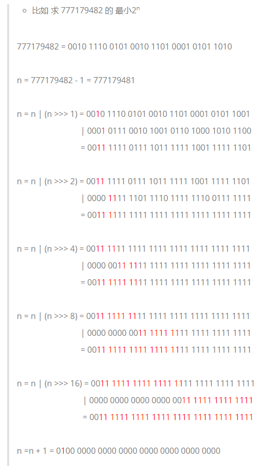 HashMap的tableSizeFor方法:求一个数的最小的2^n