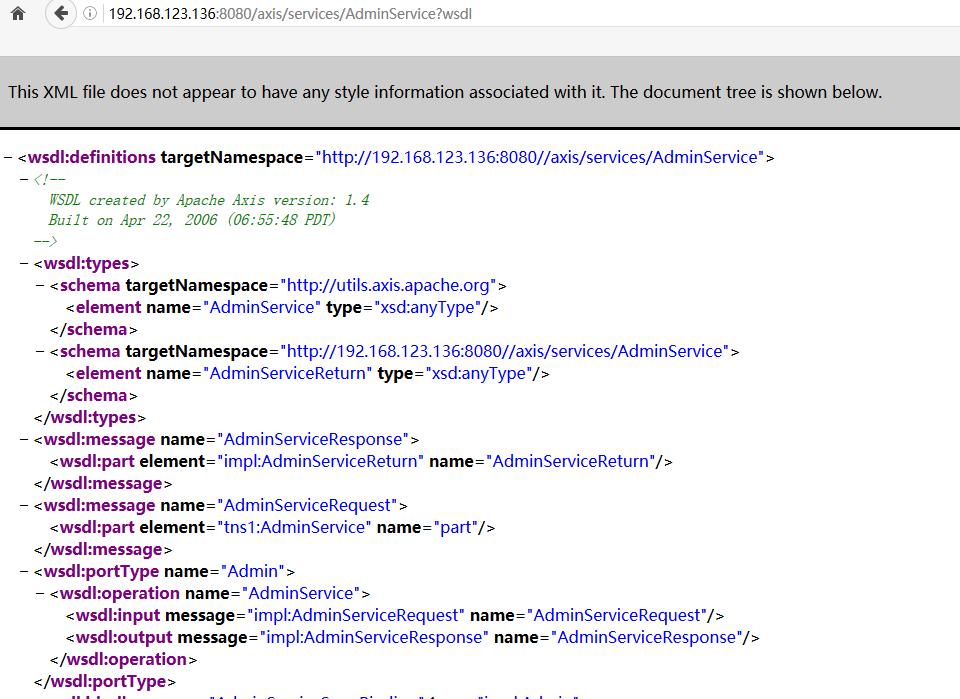 axis 1.4 AdminService未授权访问 jndi注入命令执行利用