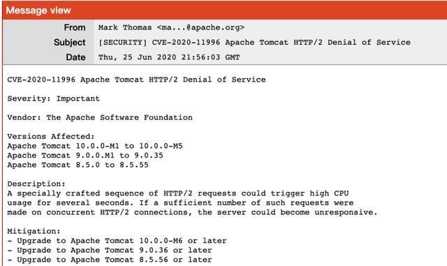 Tomcat爆出安全漏洞!Spring Cloud/Boot框架多个版本受影响